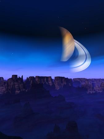 An alien landscape with an alien sky. photo