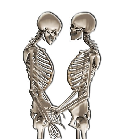 Two skeletons in a loving romantic pose. Stock Photo - 7236616