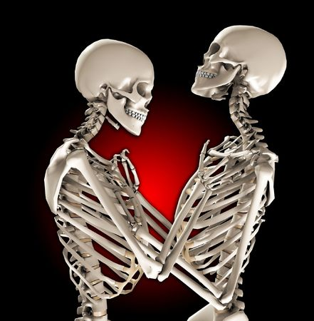 A pair of skeletons in a loving and tender pose. Stock Photo - 7256190