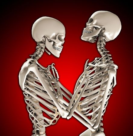 A pair of skeletons in a loving and tender pose Stock Photo - 7460873