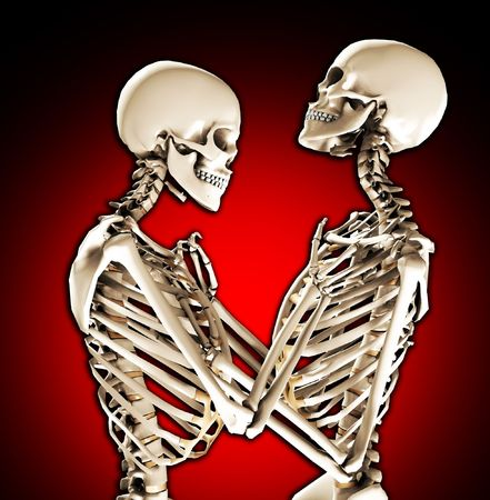 A pair of skeletons in a loving and tender pose. photo