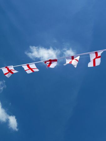 put up: Flags put up to support England.