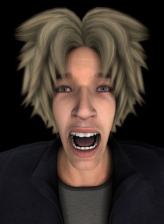 traumatized: Concept image representing a person screaming in terror and fear.