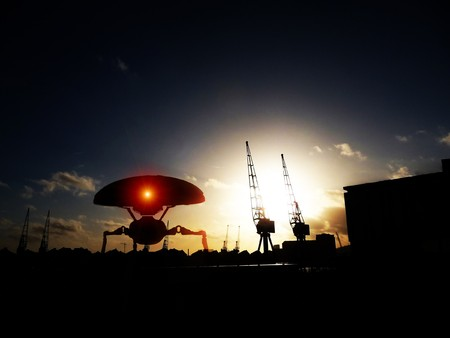 invading: Alien tripods that are invading Londons Docklands. Stock Photo