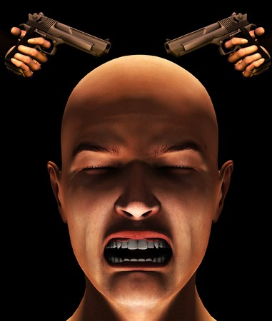 fearing: Concept image about fearing violence and criminality.