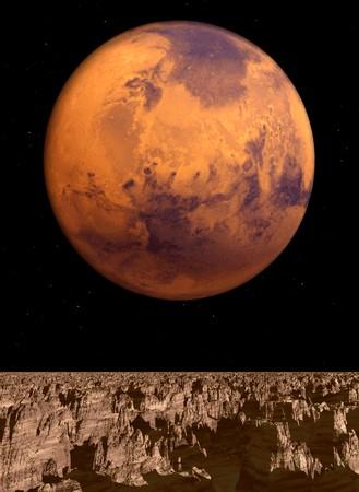 다른 행성에서 화성의 전망입니다.