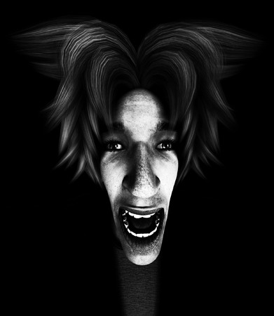 fearing: Conceptual image about extreme fear or terror. Stock Photo