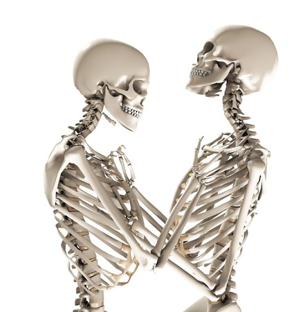 A pair of skeletons in a loving and tender pose. Stock Photo - 7310388