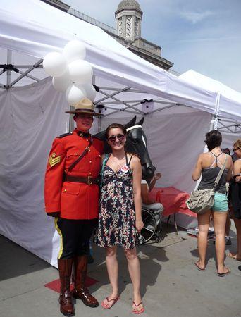 mountie: LONDON - July 1: Canada Day  July 1st, 2010 in Trafalgar Square London, England.