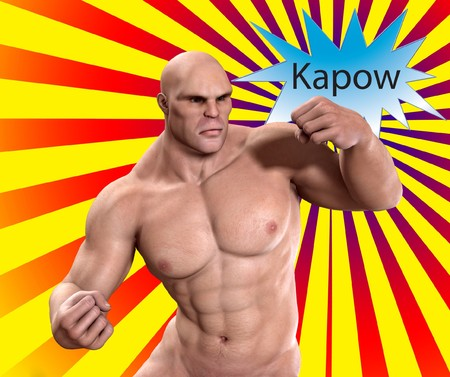 kapow: An image showing a very strong man punching.