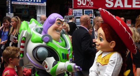 lightyear: LONDON - July 18: Buzz Lightyear And Jessie at Toy Story 3 Premiere July 18th, 2010 in Leicester Square London, England.