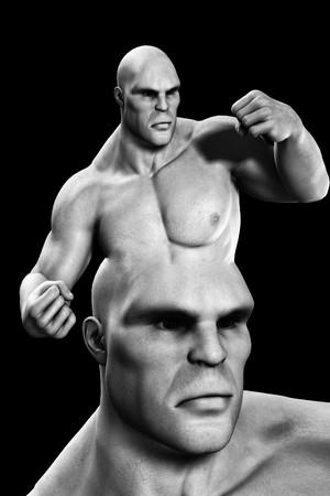 brute: Conceptual image about having a violent mind. Stock Photo