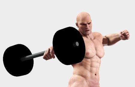 thuggish: A very strong man lifting a heavy weight. Stock Photo