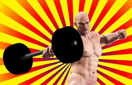brute: A very strong man lifting a heavy weight. Stock Photo