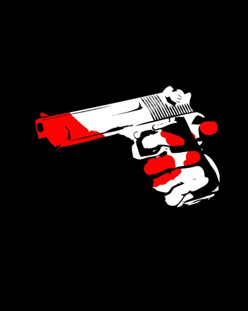 An image of a handgun for violence and criminal concepts. photo