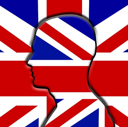brit: Head in front of the Union Jack Flag.