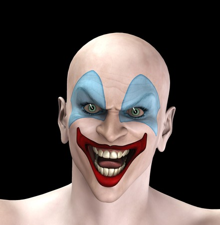 psychotic: An very evil looking clown for Halloween.