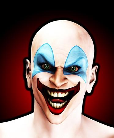 clownophobia: Un payaso de aspecto muy mal para Halloween.  Foto de archivo