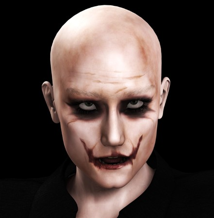 sinister: Close up image of a very evil sinister male face. Stock Photo