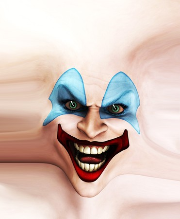 Very evil looking clown face on stretched skin. Stock Photo - 7768255