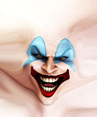 Very evil looking clown face on stretched skin. Stock Photo - 7768252