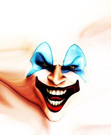 Very evil looking clown face on stretched skin. Stock Photo - 7768243