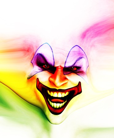 Very evil looking clown face on stretched skin.