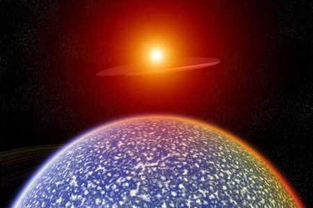 A UFO flying close to an alien planet. photo