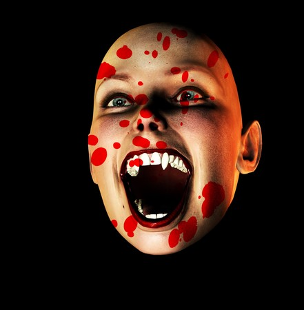 An image of a vampire face covered in blood. photo
