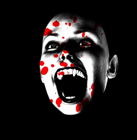 horrifying: An image of a vampire face covered in blood.