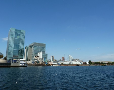 docklands: A view from the riverside of London Docklands. Stock Photo