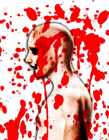 psychotic: A Psychotic male who is covered in blood.