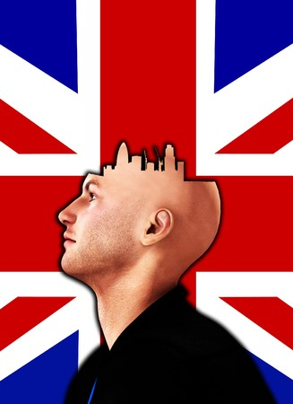 Concept image about someone who always thinks of London. Stock Photo - 7886630