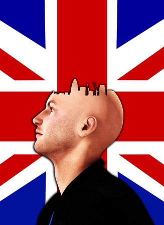 Concept image about someone who always thinks of London. Stock Photo - 7886632
