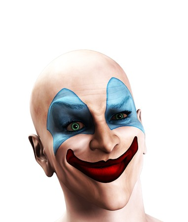 clownophobia: An image of a scary evil clown that is puzzled.