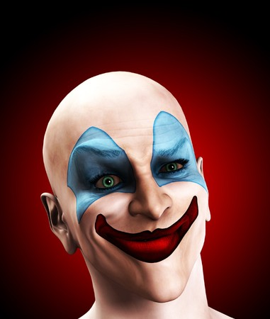 An image of a scary evil clown that is puzzled.