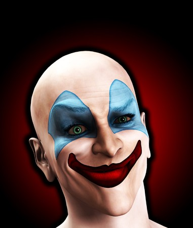 puzzlement: An image of a scary evil clown that is puzzled.