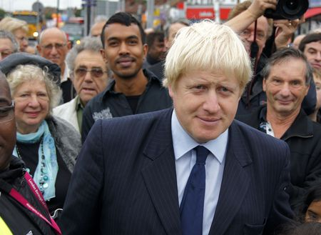 boris: LONDON - OCTOBER 1: London Mayor Boris Johnson At The Reopening Of Gants Hill Roundabout October 1, 2010 In Gants Hill London, England.