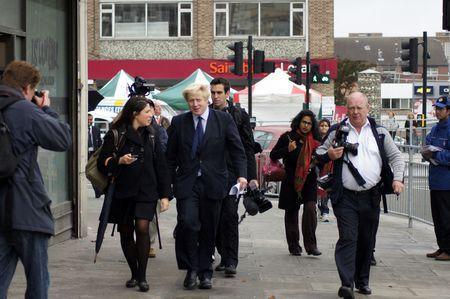 mayoral: LONDON - OCTOBER 1: London Mayor Boris Johnson At The Reopening Of Gants Hill Roundabout October 1, 2010 In Gants Hill London, England.