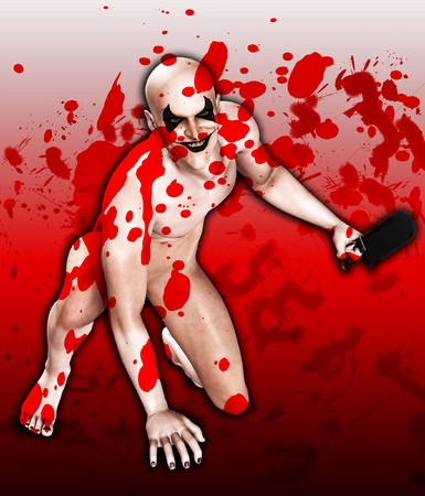 clownophobia: Scary image of a psychotically evil Halloween clown.