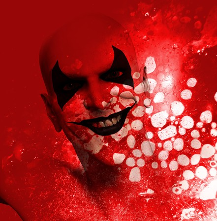 contended: Sinister grinning clown behind a layer of bloodstained texture.