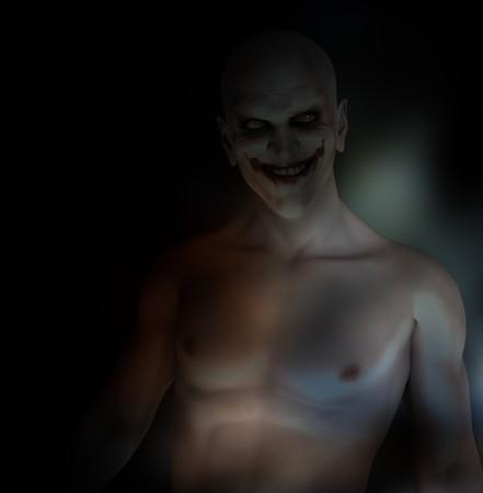 clownophobia: Un payaso psychotically mal con malos pensamientos en su mente.  Foto de archivo