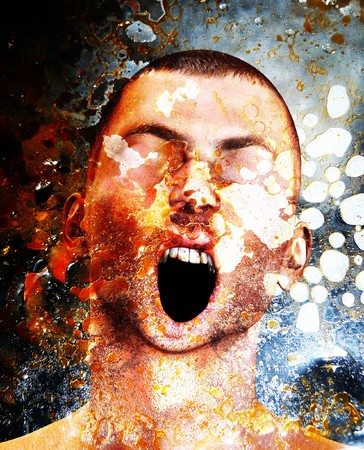 tormented: Concept image showing a screaming man in pain and torment.  Stock Photo