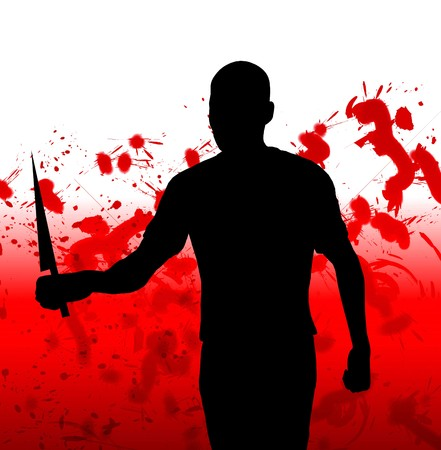 slasher: Concept image featuring a silhouetted violent figure.