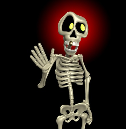 A cartoon skeleton who is waving its hand.