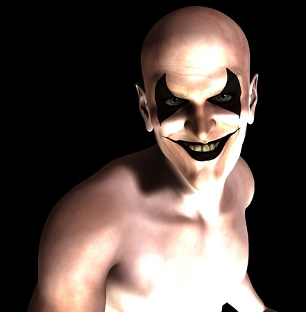 An evil and sinister grinning psychotic clown.  Stock Photo