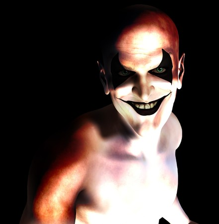 contended: An evil and sinister grinning psychotic clown.  Stock Photo