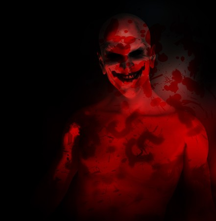 An evil psychotic clown covered in blood. Stock Photo - 8106417