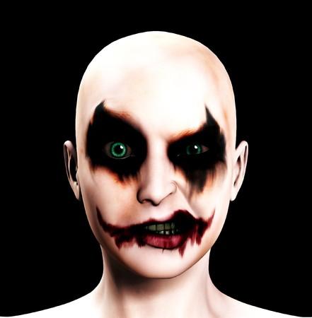 clownophobia: Un payaso mujer psic�tico totalmente mal para Halloween.  Foto de archivo