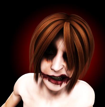 psychopathe: Un clown femelle malfaisant et psychotique et sinistre.  Banque d'images